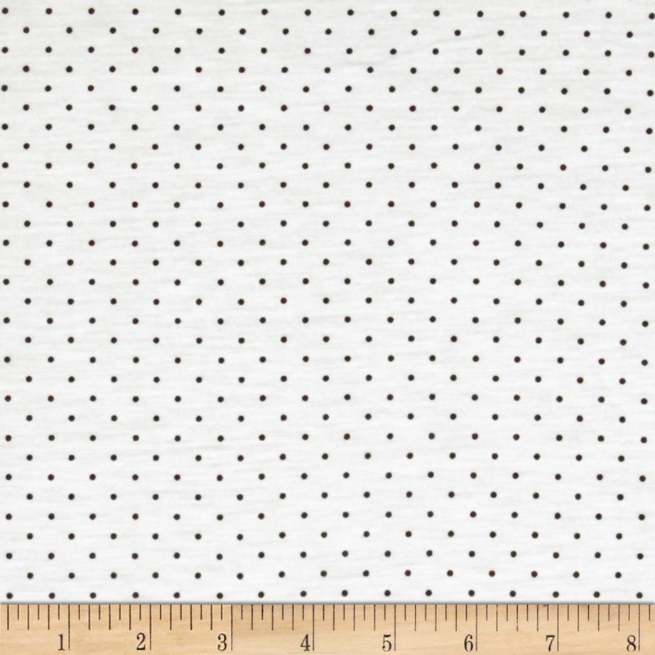 Tissue Jersey Knit Dots White/Brown