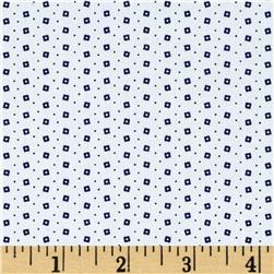 Telio Morocco Blues Stretch Cotton Shirting Square Dot Navy/White