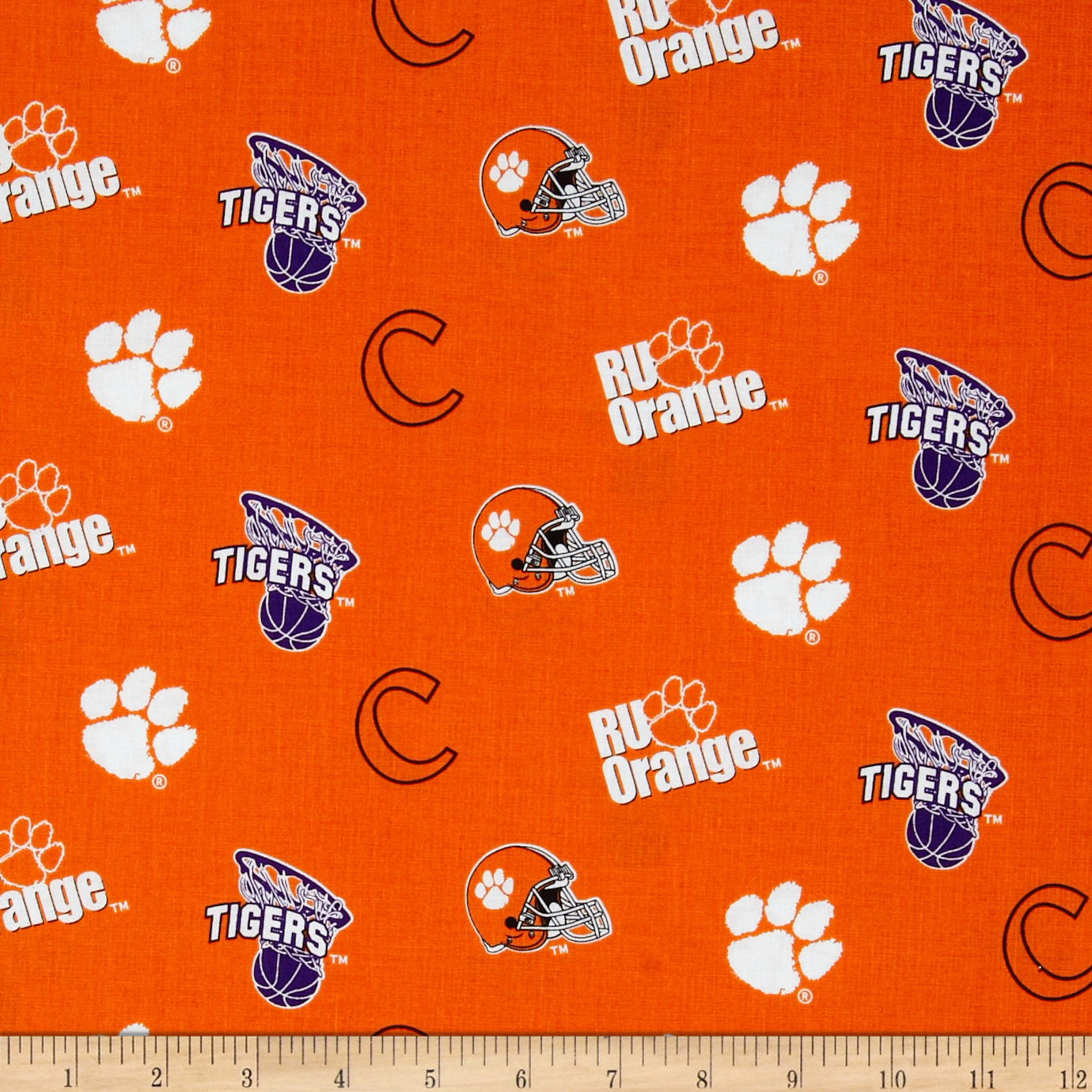 Collegiate Cotton Broadcloth Clemson University Fabric