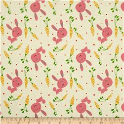 Garden Bunny and Carrots Pink