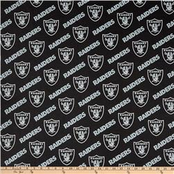 NFL Cotton Broadcloth Oakland Raiders Black/Silver Fabric