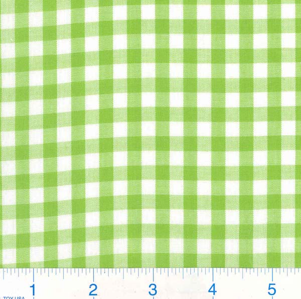 Woven 1/4 Gingham Lime Green Fabric