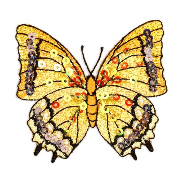 Large Butterfly Iron On Sequin Applique Gold