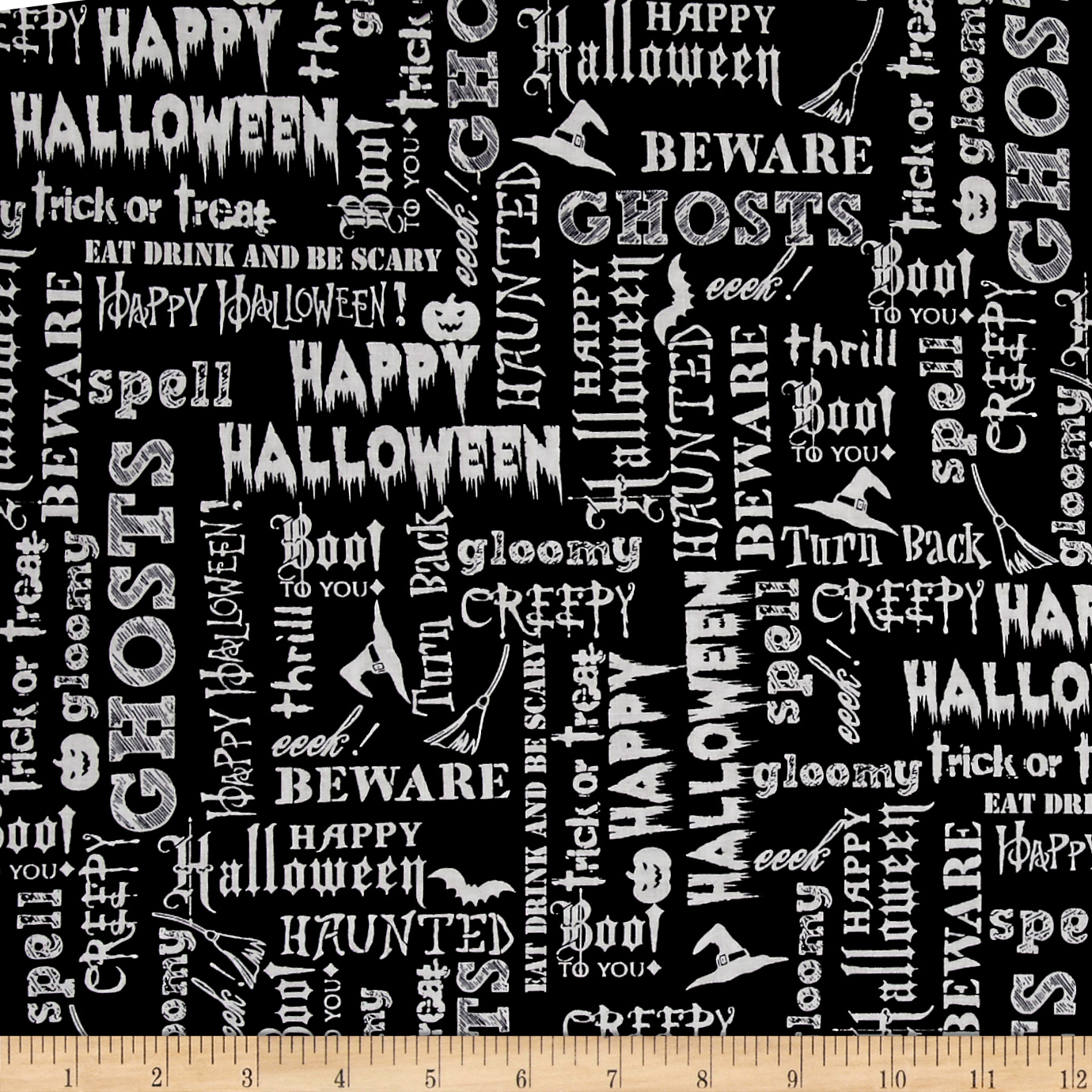 Image of Eat Drink & Be Scary Words Black Fabric