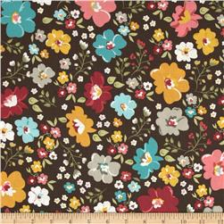 Riley Blake Unforgettable Large Floral Brown