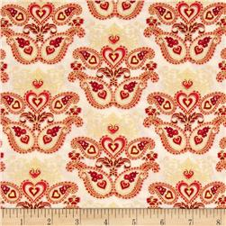 Sweet Heart Metallics Paisley Medallion Ivory Fabric
