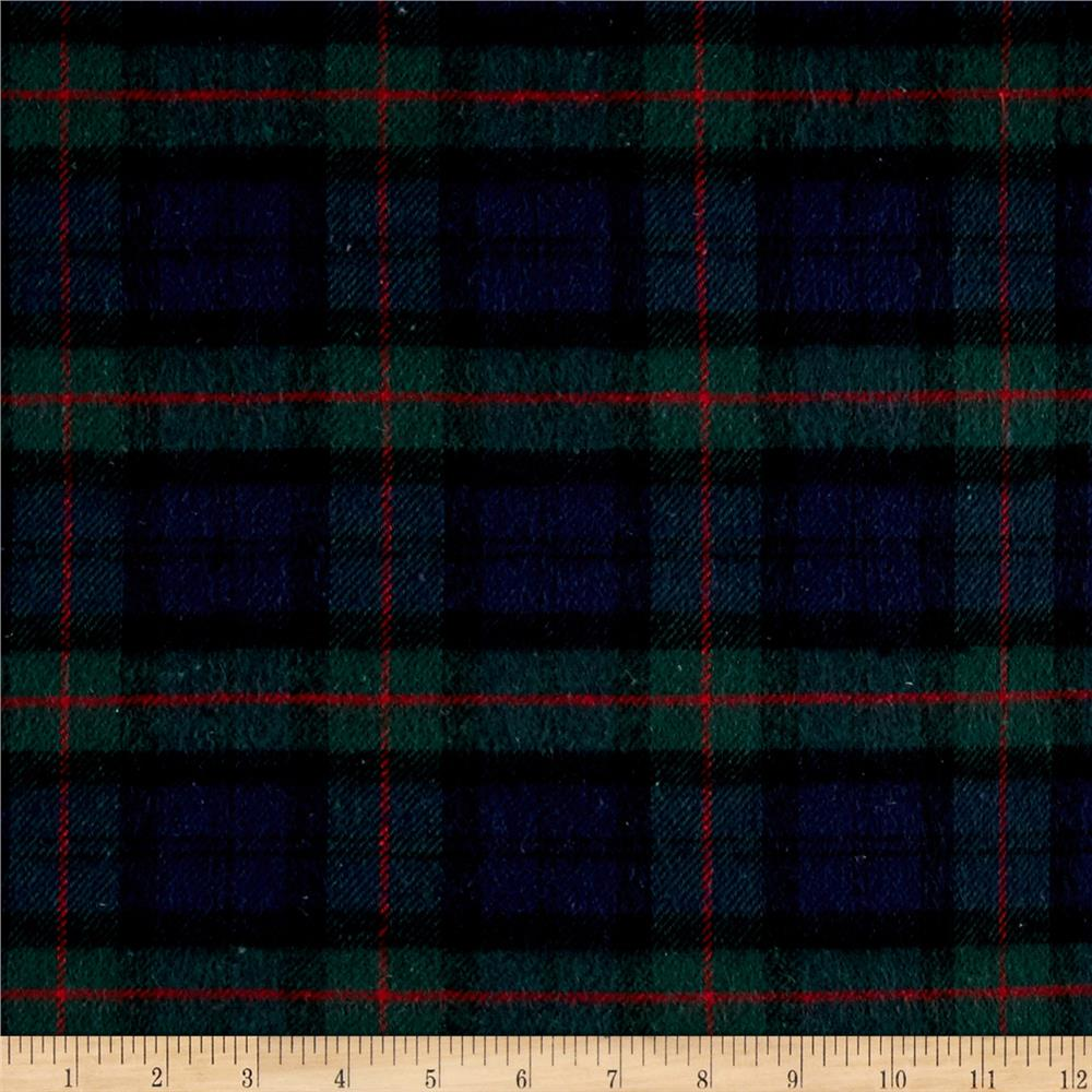 Yarn dyed plaid flannel navy green red discount designer for Flannel fabric