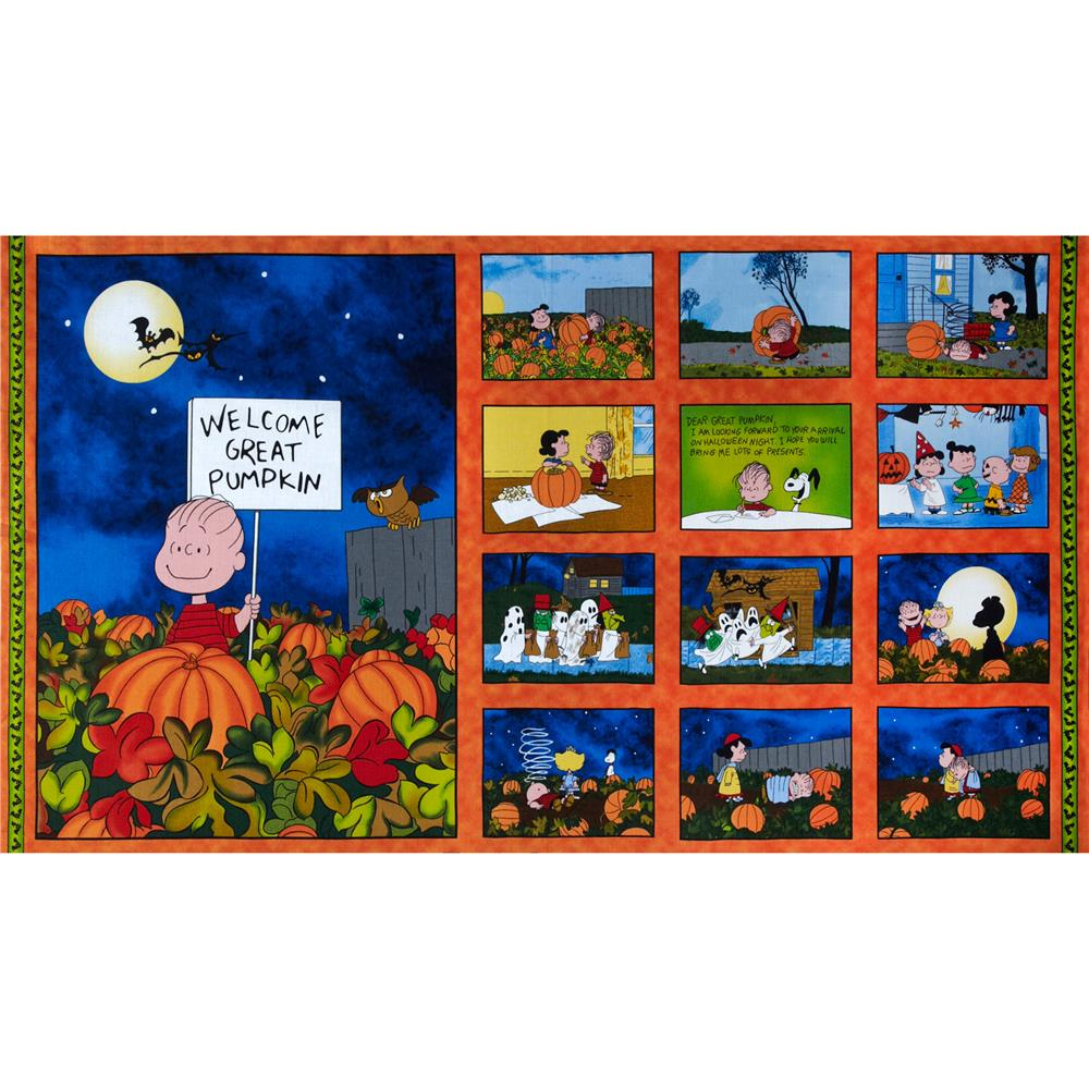 Peanut's Welcome Great Pumpkin Panel Orange/Royal