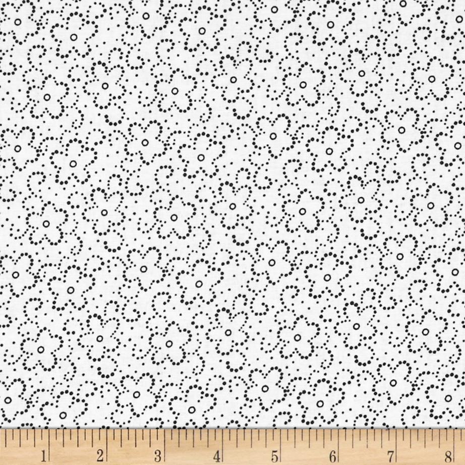 Daisy Floral White/Black Fabric By The Yard