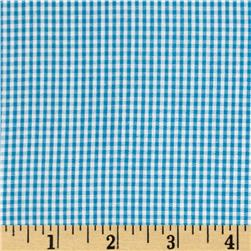 Cotton Gingham Check 1/16'' Turquoise/White
