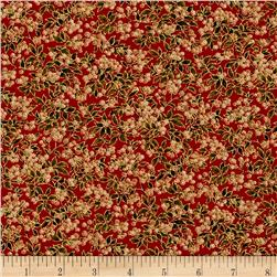 Moda Holly Night Metallic Berries Crimson