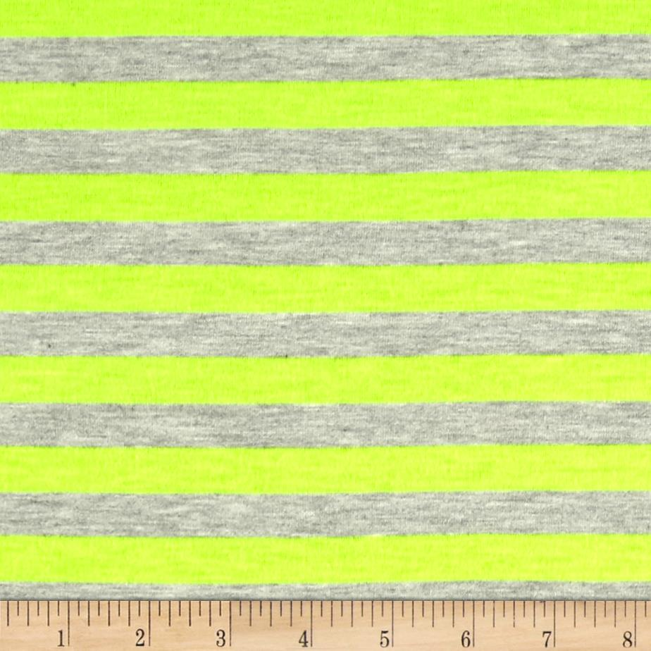 Jersey Knit 1/2'' Stripe Heather Gray/Neon Yellow Fabric By The Yard