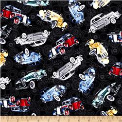 Classic Cottons Classic Cars Allover Black