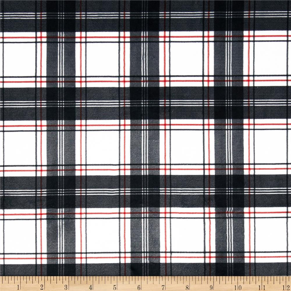 Minky New Plaid Blackwhitered Discount Designer Fabric Fabric
