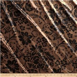 Charmeuse Satin Joy Flowers Brown/Black Fabric