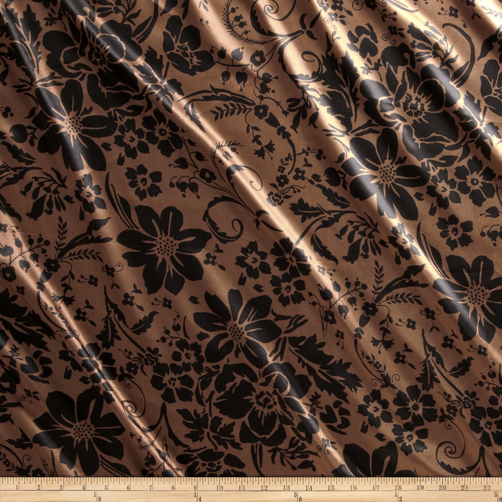 Charmeuse Satin Joy Flowers Brown/Black Fabric by Newcastle in USA