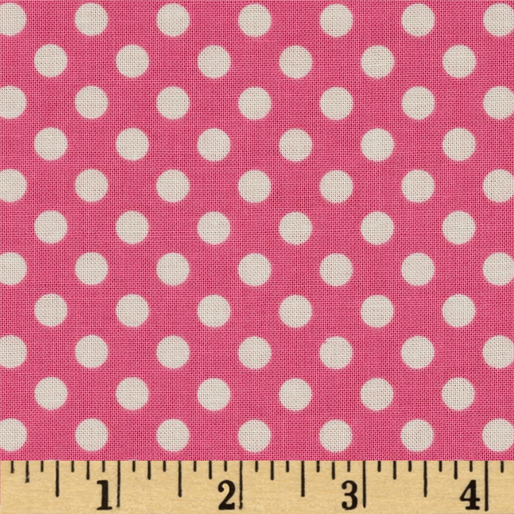 Riley Blake Le Creme Basics Small Dots Hot Pink/Cream