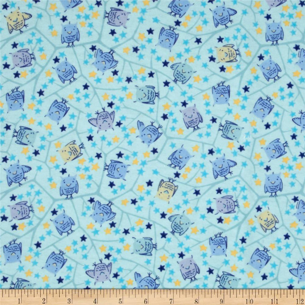 Nap Time Flannel Baby Owls Blue