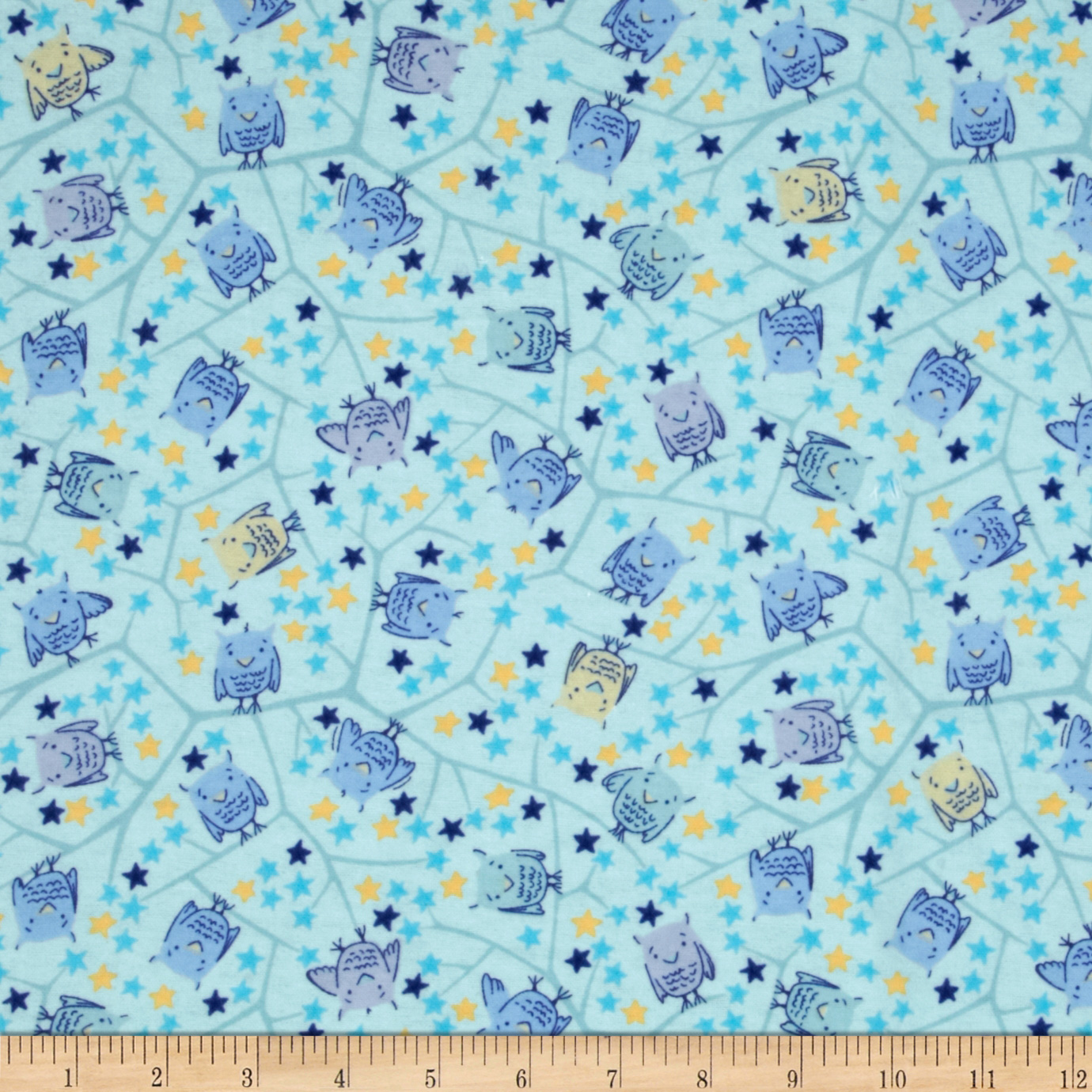 Nap Time Flannel Baby Owls Blue Fabric
