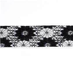 1 1/2'' Floral Lace Ribbon Black