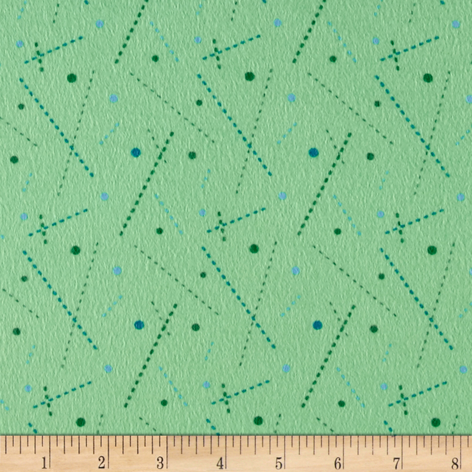 Intrigue Fancy Flannel Stick Dots Mint Fabric