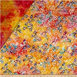 Double Face Quilted Indian Batik Butterflies Pink/Lime/Yellow