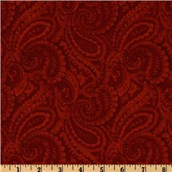 108'' Complementary Quilt Backing Paisley Crimson Fabric