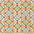 Cotton Lawn Country Tile Pink/Green