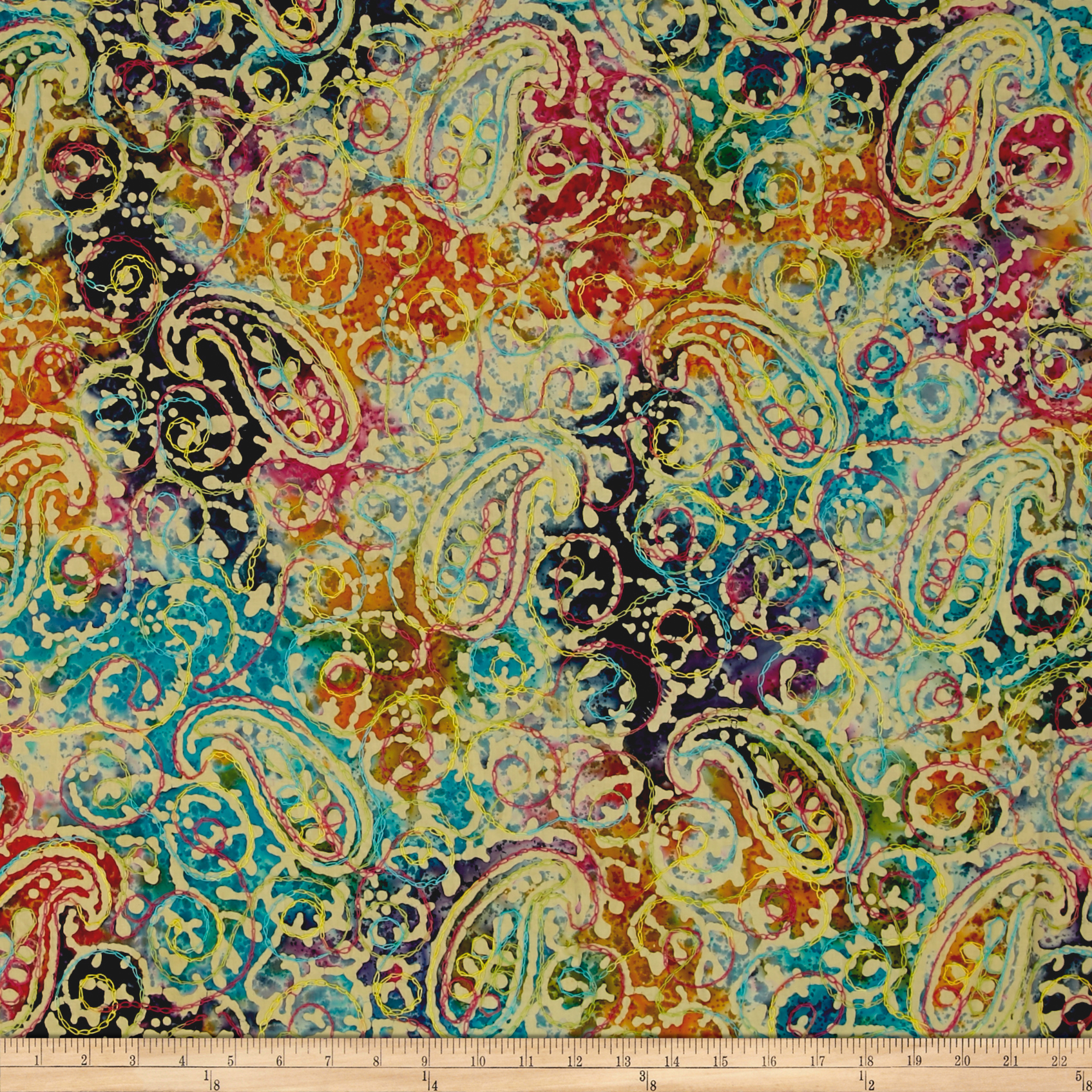 Indian Batik Embroidered Bright Mosaic Paisley Multi Fabric by Textile Creations in USA