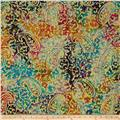 Indian Batik Embroidered Bright Mosaic Paisley  Multi
