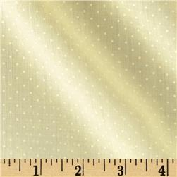 Cotton Poly Broadcloth Pin Dots Pale Yellow/White