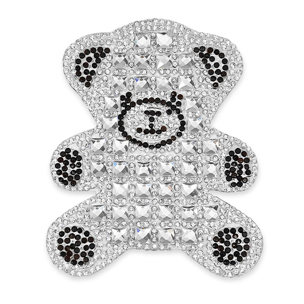 4'' x 2 1/2'' Iron On Rhinestone Teddy