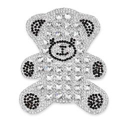 4'' x 2 1/2'' Iron On Rhinestone Teddy Bear Applique Black/Silver