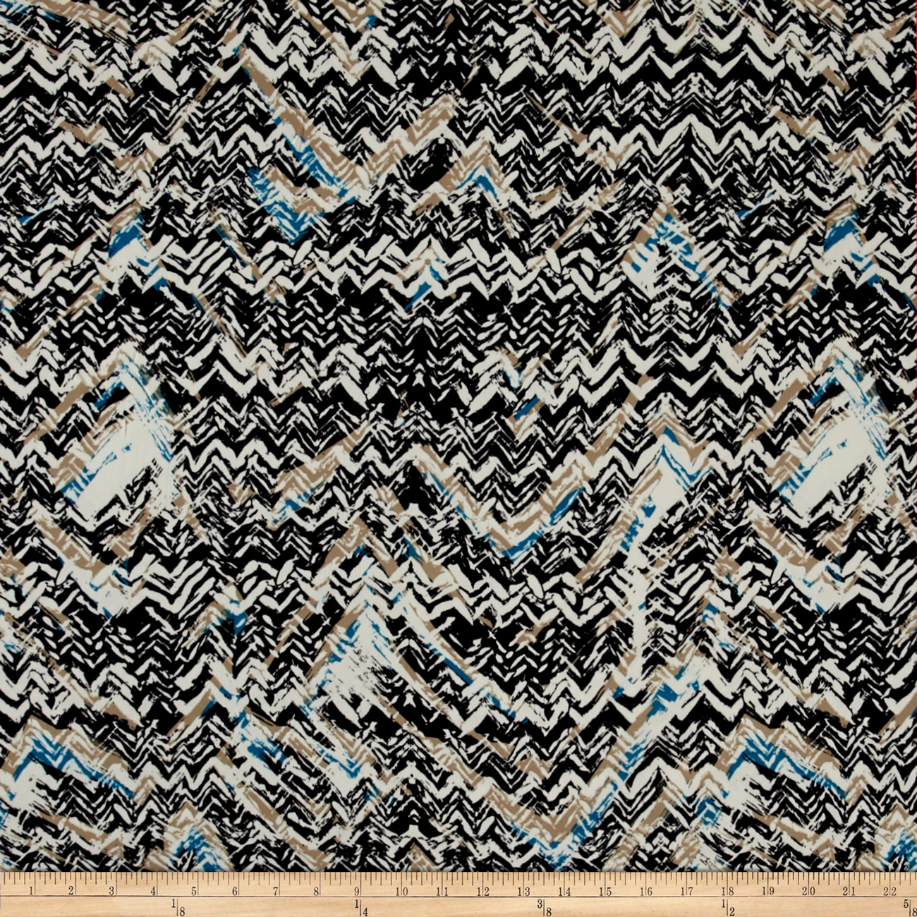 Abstract Zig Zag Dobby Crepe Print Black/Teal Fabric