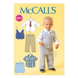 McCall's Infants' Vest, Shirt, Shorts, Pants, Tie and Pocket Square Pattern M6873 Size YA5