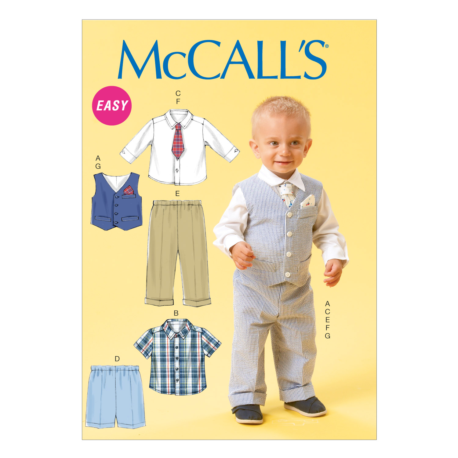 1950s Sewing Patterns- Dresses, Skirts, Tops, Pants McCalls Infants Vest Shirt Shorts Pants Tie and Pocket Square Pattern M6873 Size YA5 $12.48 AT vintagedancer.com