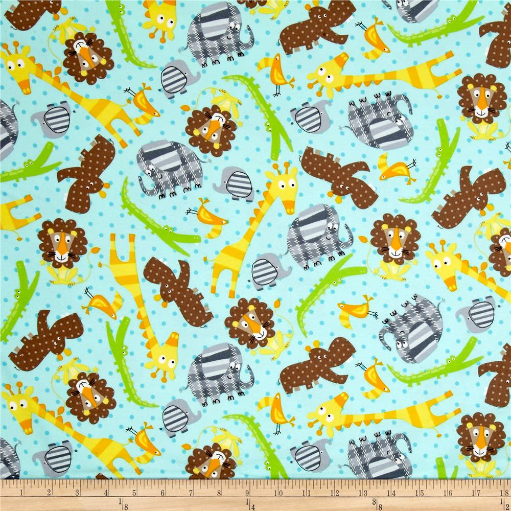 Kanvas Zoo Baby Flannel Zoo Animals Aqua