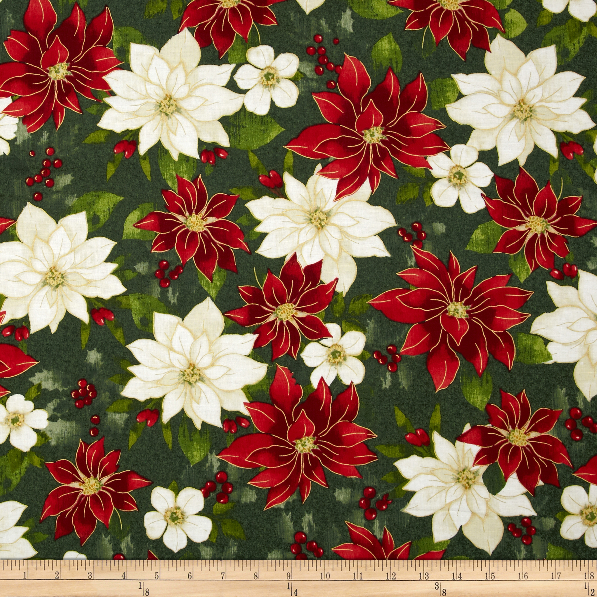 Holiday Elegance Metallic Poinsettia Green