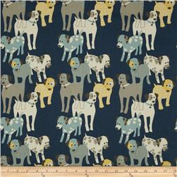 Premier Prints Woof Woof Natural Primary Blue