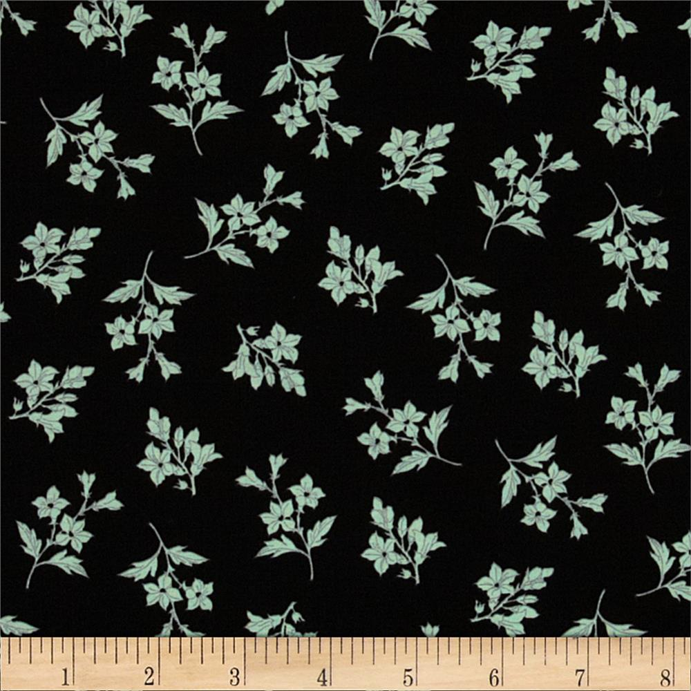 Spring Fling Tossed Floral Black/Mint