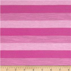 Stretch Yarn Dyed Jersey Knit Stripes Tonal Pink