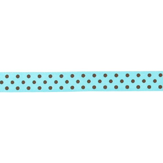 "5/8"" Grosgrain Ribbon Polka Dots Turquoise/Brown"