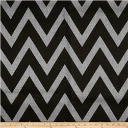 60'' Sultana Chevron Burlap Light Grey/Black Fabric