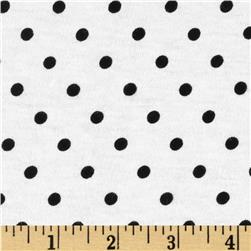 Cotton Jersey Knit Polka Dots White/Black Fabric