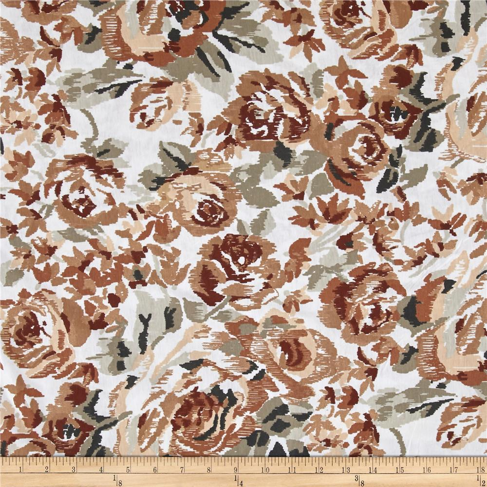 Jersey Knit Beige/Brown Rose on White