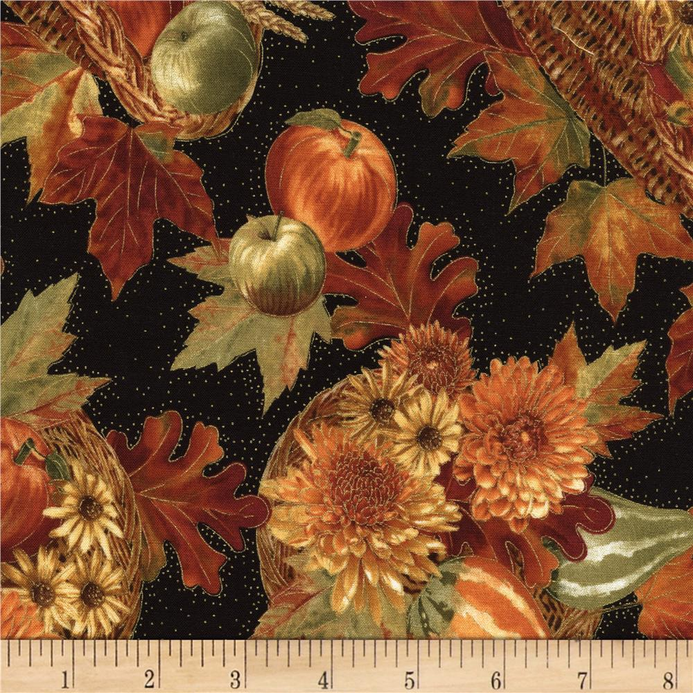 Timeless Treasures Golden Harvest Metallic Cornucopia Black