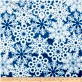 Timeless Treasures Minky Softie Snowflakes Blue