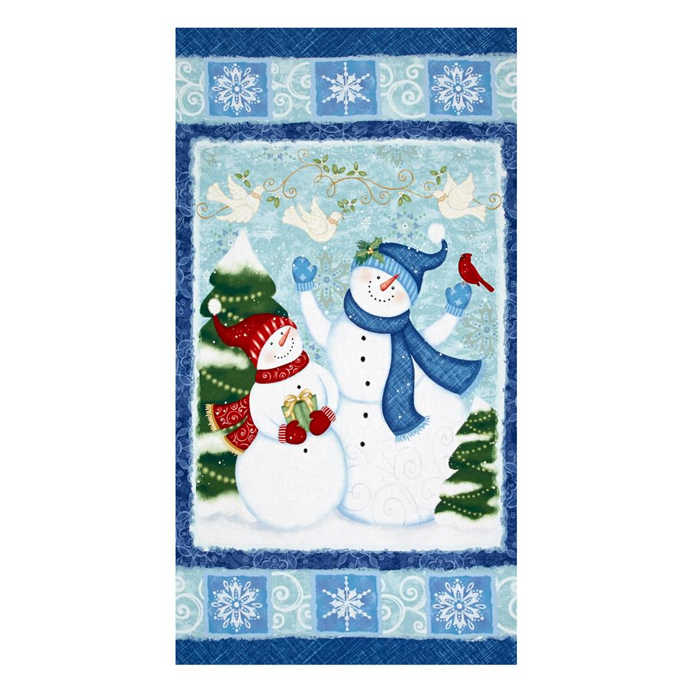 "Sharla Fults Winter Joy 23.5"" Panel Blue/Aqua"