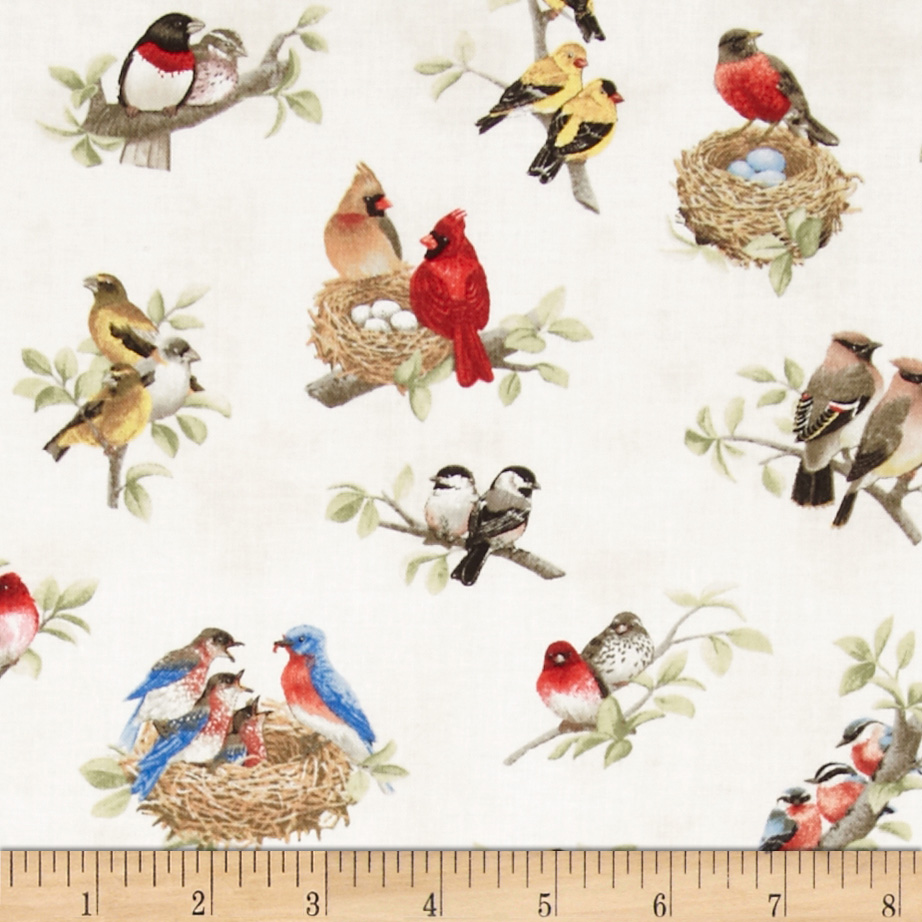Fabric.com coupon: Beautiful Birds Birds All Over Cream Fabric