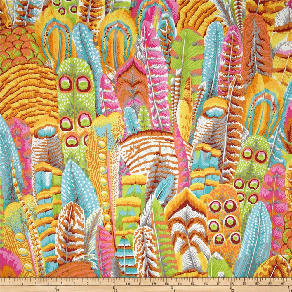 Kaffe fassett feathers yellow discount designer fabric for Modern fabrics textiles